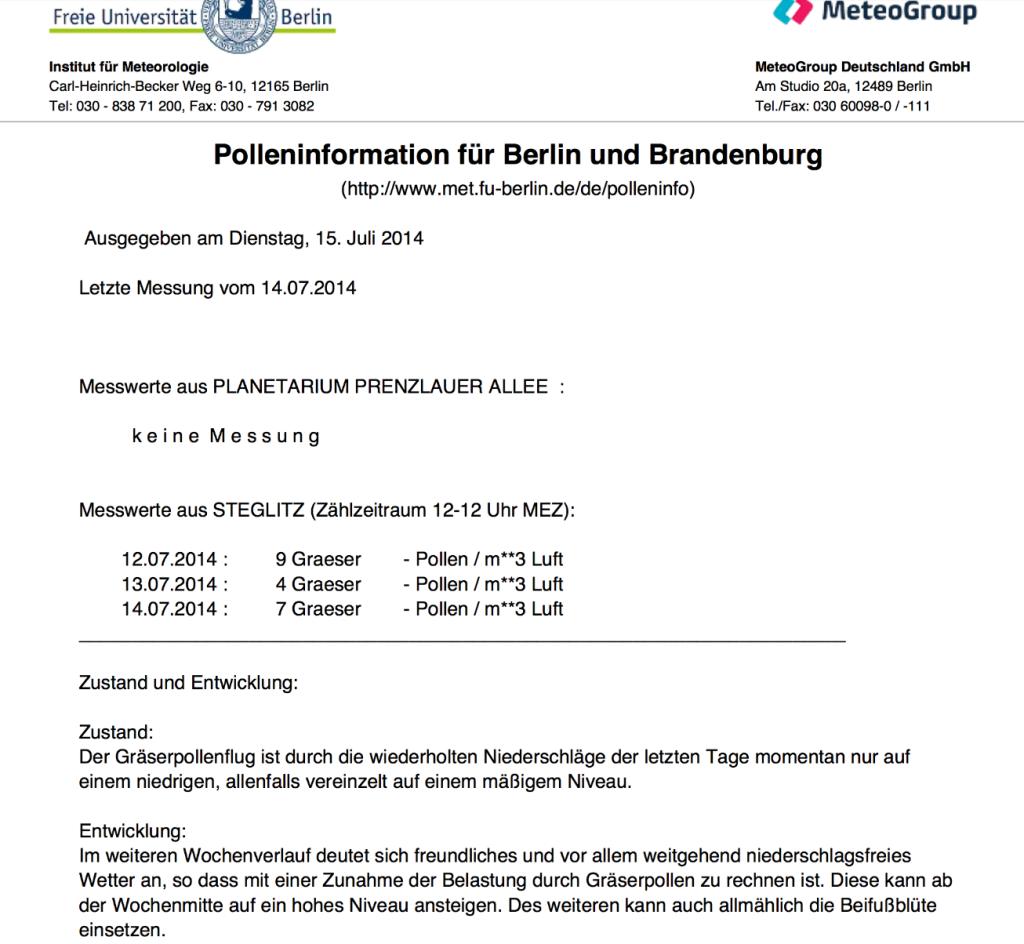 Pollenzählung der FU Berlin